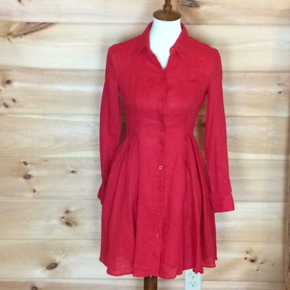 7551e01866 Anthropologie Dresses   Skirts - HD in Paris (Anthropologie) red linen dress  Size 0
